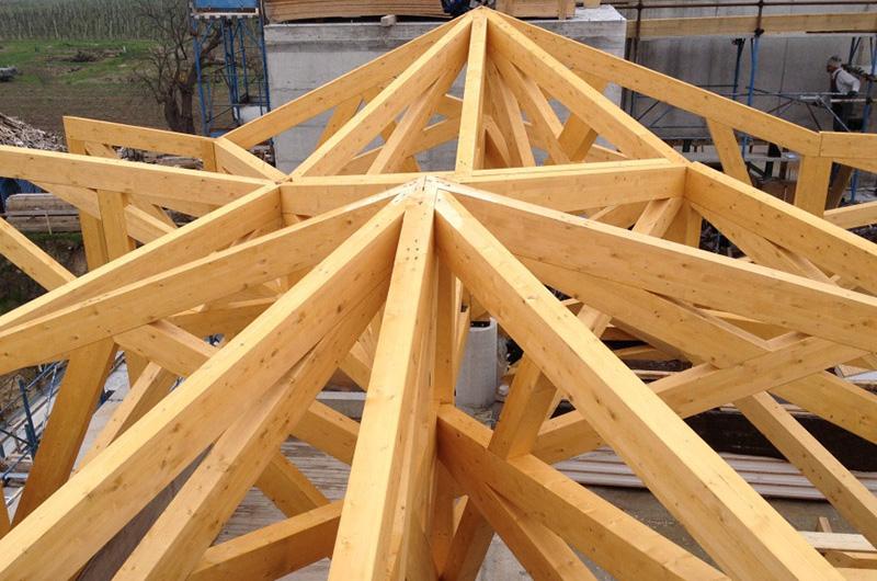 Lastruttura inlegno lamellarecomposta da travi reticolari simula dal punto di vista architettonico la parte più alta di un albero che si appoggia su muri costruiti in modo tradizionale.